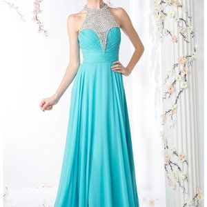 Jewel Halter Neck A-Line Chiffon Dress CDJC4100